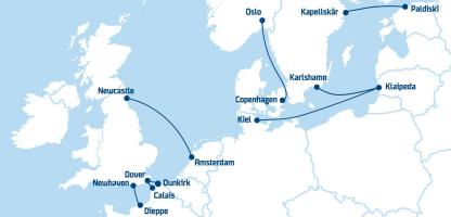 dfds passenger ferry routes map