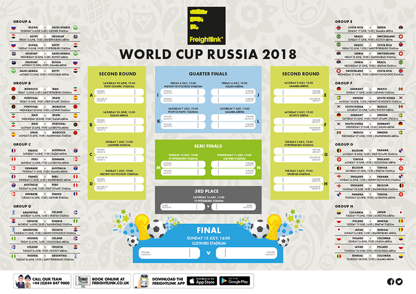 World Cup 2018 Wall Chart