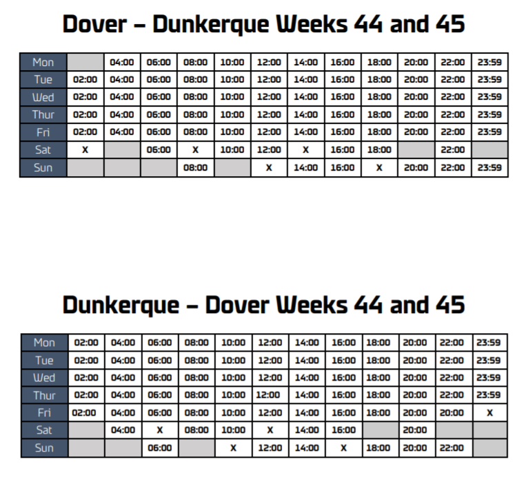 Dover Dunkerque revised schedule weekends 44 and 45