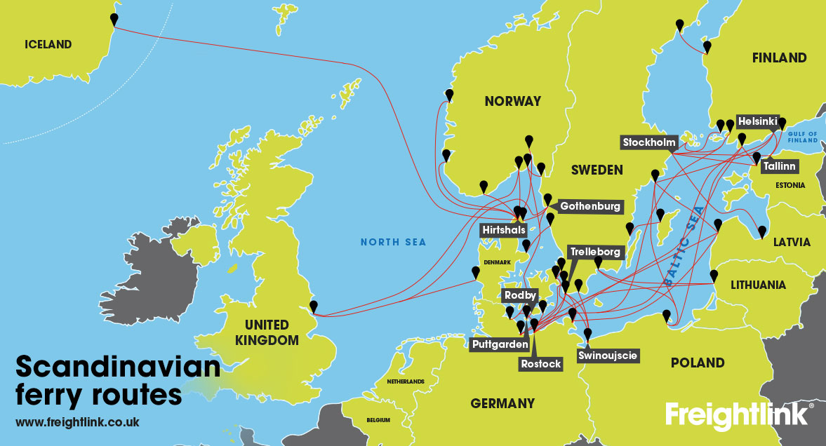 uk to norway scandinavian ferry map
