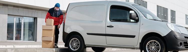 Commercial van and driver