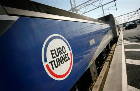 freight train showing channel tunnel logo
