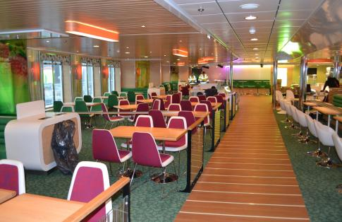 freight ferry public lounge with restaurant and bar