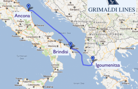 Grimaldi Italy to Greece Ferry Route