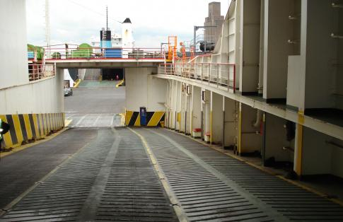 Deck of an empty freight ferry ready to depart