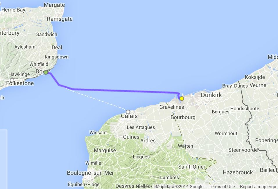 Map Dover To Dunkirk Afputracom