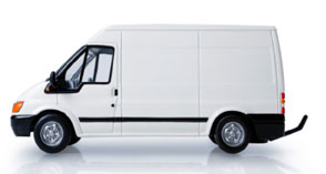 white van representing small courier potentially for movement of freight
